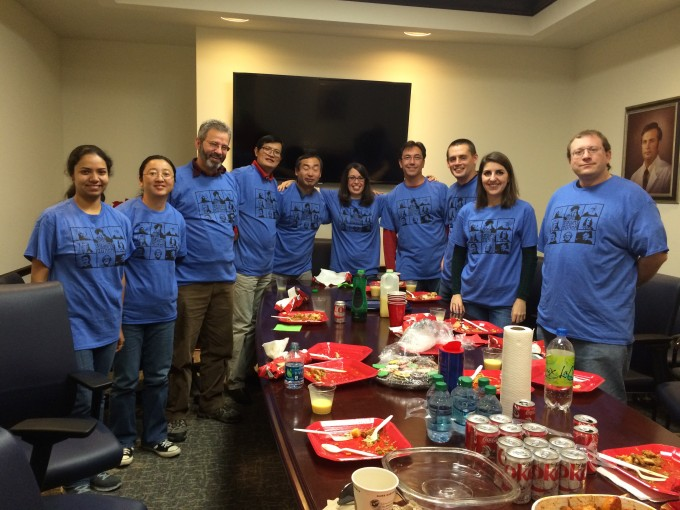 Team all wearing blue shirts
